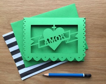 Alternative Mexican Wedding Invitations 'Papel Picado' Inspired Amor/ Love Paper Cut Card, Mexican/ Spanish Wedding, Frida Kahlo inspired