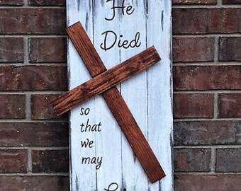 Distressed Wooden Cross Decor/Easter/Resurrection/Housewarming