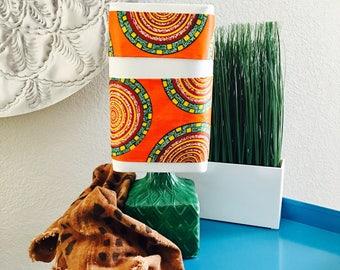 Refurbished Lamp - ceramic base - african print - circular: orange, burgundy, hunter green, white