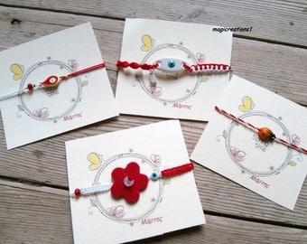Μάρτης. Μαρτακια. Red and white cotton bracelet. Jewellery.