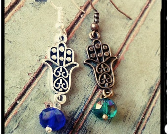 Hamsa Hand - Birthstone Earrings - Silver or Bronze//Swarovski Crystal Birthstone//Yoga - Lucky Earrings - Gift for Her