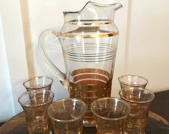 Vintage Glass Pitcher and Six Matching Glasses with Gold Band Design