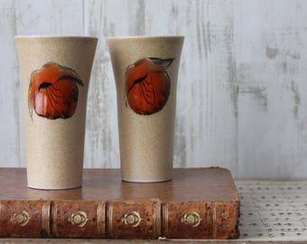 2 tasses à thé vintage, vers 1960, vaisselle vintage, verre rétro, vintage français, THE170999