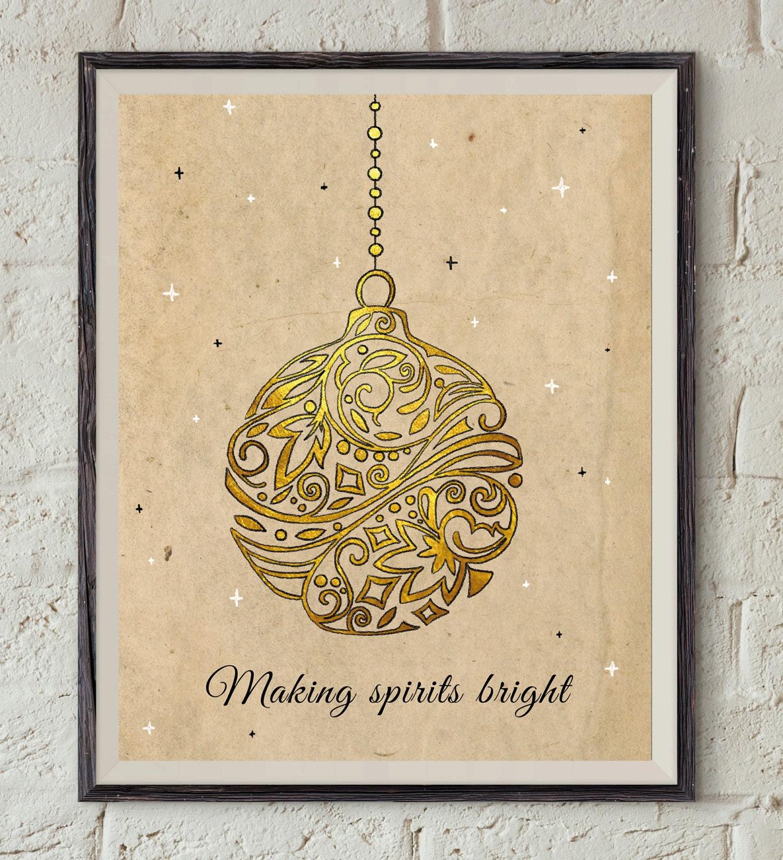 Vintage christmas print gold ornament xmas wall art