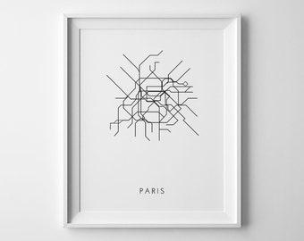Paris Print, Paris Metro Map, Subway Art, Paris Subway Map, Subway Map Print, Subway Art Print, Paris Decor, Paris Subway Art