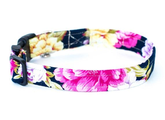 10 Off Coupon On Blossom Dog Collar Floral Navy Dog Collar Vintage