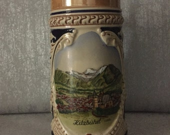 Vintage Austrian lidded Beer Stein from Kitzbuhel circa 1960's embossed with No 5