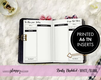 Printed A6 Undated Daily Travelers Notebook | Daily Planner Insert | No3/A6 TN Inserts