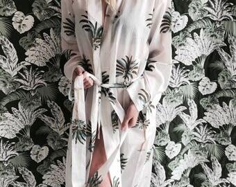 Kiyomi Palm Print 100 percent cotton Kimono Dressing Gown/Robe, Byron Bay