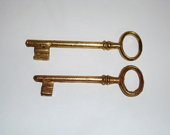 Lot 2 Keys, antique skeleton key, Brass keys, Old keys, Vintage keys, Large keys, Keys home decor, decorative, metal