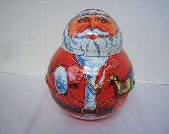 Chein Industries, Santa Rolly Polly, Metal Santa, 1980 Date, Two Pieces, Candy Container?, Selling As Found, Collectible Santa