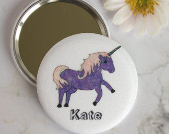 Unicorn compact mirror - personalised gift - unicorn gift - gift for girl - gift for teenage girl - pretty birthday gift - gift for teen