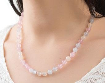 Morganite necklace stone necklace rainbow necklace colorful necklace invisible jewelry beads necklace cover necklace womens necklace ideas