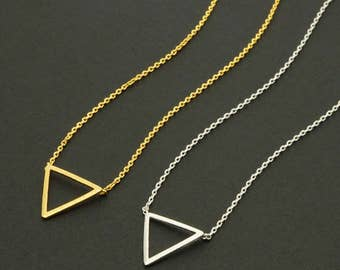 Open Triangle Necklace / inverted triangle, unilateral, geometric jewelry, line triangle, simple triangle, triangle charm / N0-12