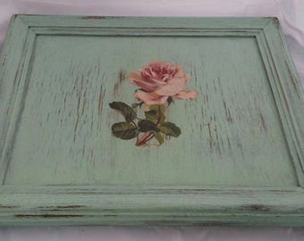 Cottage Chic Serving Tray Distressed Vintage Rose Design Handmade Up-cycled Shabby Chic