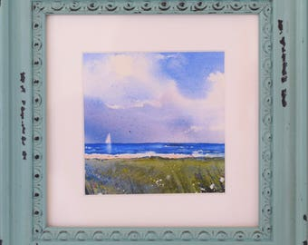 Seascape Painting of Sailboat and Clouds - Small Framed Watercolor Giclee Print - Coastal Art - Nautical Art - Beach Painting - MahiDesigns1