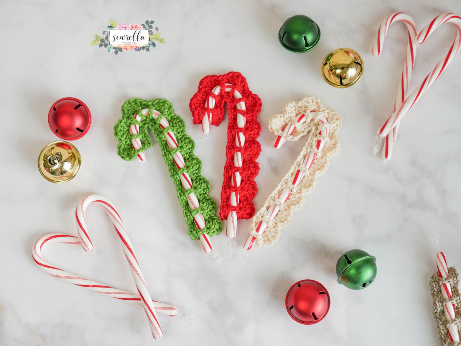 Crochet Candy Cane Cover Christmas Ornament Pattern pdf