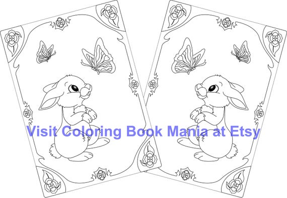 Nothing cuter than a pair of RABBITS! 4 Note Cards to COLOR - Matched set of Rabbits with Butterflies and Flowers - 4 Cards with envelopes