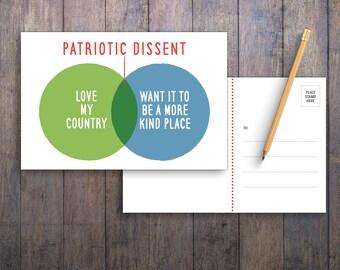 Patriotic Dissent PRINTABLE Protest Postcard
