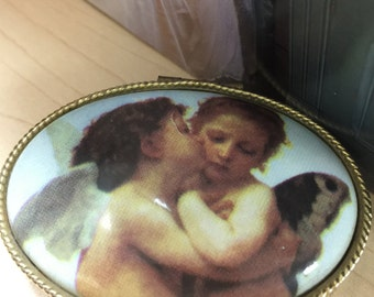 Vintage Pill Box, Angel Lid Pill Box, Victorian Box, Angel Kiss Pill Box