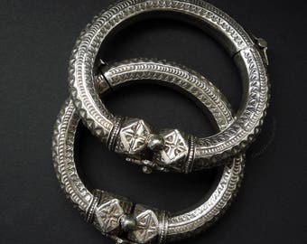 Pair of old silver Bedouin Bracelets / Anklets.  Antique chased silver Bedouin anklets.  Old Nubian anklets.