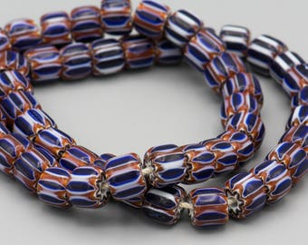 "26 Chevron Glass Beads 10-8mm 8"" Strand"