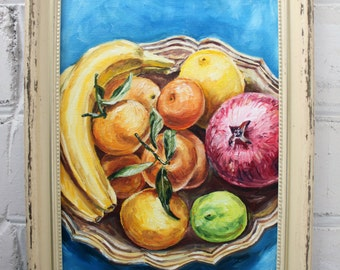 Fruits Still Life Painting Oil Painting Framed Painting Original Art Framed Art Fruit Still Life Kitchen Art Food Painting Canvas Art