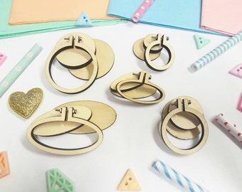 Mini Embroidery Hoop Art - 5 Pack - Mini Wooden Frames - Craft Gift - DIY Jewelry kit - Mini Hoops - Embroidery Hoop Kit - Cross Stitch
