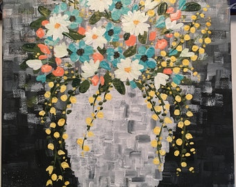 "Floral in Vase Acrylic on 12"" x 16"" Stretched Canvas Painting / Black, Gray's, Aqua Blue, Peach, Yellow, White"