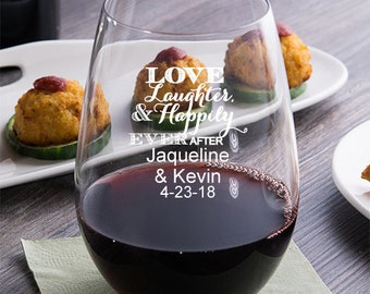 24 pcs Love Laughter Happily Ever After Personalized 9 oz. Stemless Wine Glassware- Wedding Favors - Personalized Favors -MIC2312-1