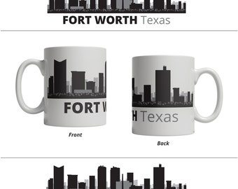 Fort Worth TX Skyline Mug - Personalized Custom Text Ceramic Coffee Cup Tea, 11 oz - Texas