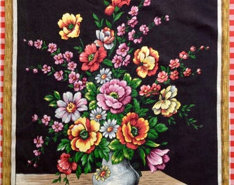 French Cotton Tea Towel - Vase of Flowers Painting - Black Background - Dish Cloth by Cotal, France