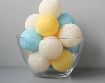 READY TO SHIP! Yellow & Sky Blue Cotton Ball Light | Handmade Garland