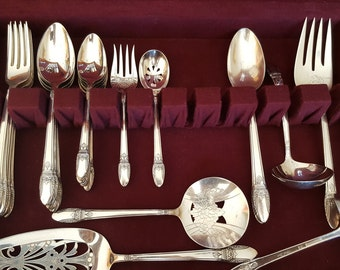 1937 First Love Silverplate Flatware Set by 1847 Rogers Bros 6 Place with Serving Pieces