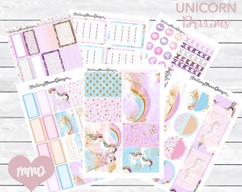 Unicorn Dreams stickers, planner stickers, happy planner stickers, functional stickers
