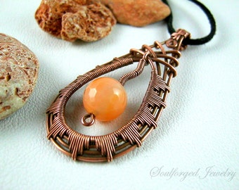 "Copper wirewrapped pendant - Copper wire ""Tear"" pendant with fiery agate"