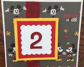 Handmade Greeting Card -  Happy 2nd Birthday Card - Mickey Mouse