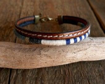 Leather bracelet, Mens Bracelet, Gift for dad, Nautical bracelet, Mens Jewelry, Woven bracelet, Valentine gift, Boho men, Tribal bracelet