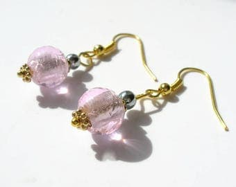 Pink lampwork glass beads earrings