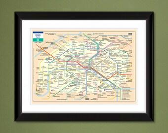 French Metro Etsy - French metro map