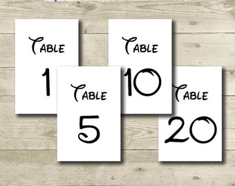 Disney Wedding // Disney Table Numbers // PRINTABLE // 4x6 // Disney Engagement Party // Instant Download // 1-30 Tables