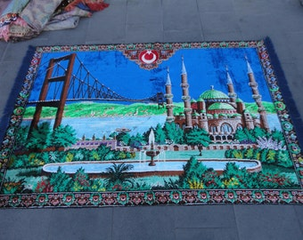 Turkish flag and bosphorus illustrated wall rug,68 x 46 inches