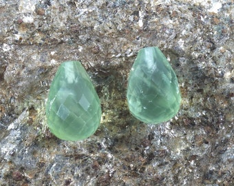 1 Pair, Two Pcs, Green Prehnite Drops, 14x10 mm Faceted Top half drilled Pear shape, Teardrop Earrings or pendant, Genuine Gemstones