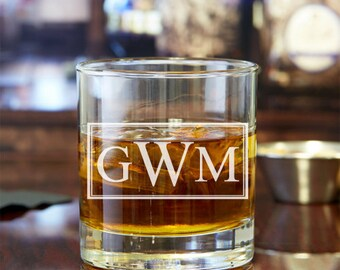 2pcs - Classic Monogram Personalized Rocks Glasses - Engraved Whiskey Glasses - FJM5714378-22