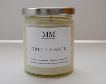 GRIT + GRACE // natural soy candle // hand-poured // small batch