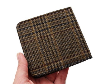 Small Cloth Wallet,Brown Plaid Wallet,Check Tweed Bifold,Slim Wallet Men,Mini Pocket Billfold,Dandy Cloth Wallet,Thin ID Wallet,Boss Gift