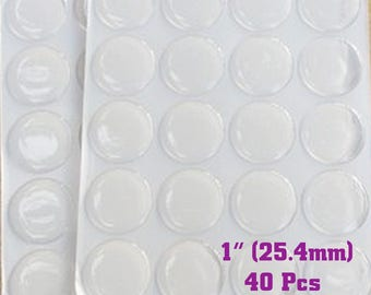 NEW Clear Epoxy Seals, 1 Inch Epoxy Dots for Bottle Cap Charms, 2mm thick, 40 Epoxy Sticker for Bottlecaps & Pendants (EC-003)