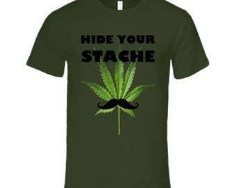 Hide Your Stache Hemp Men's Fitted T Shirt