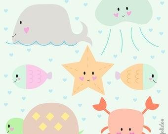 Under The Sea Clipart - Cute Sea Clipart Set - Sea Clipart - Kawaii Scrapbooking Clipart  - Kawaii Clip Art - instant download