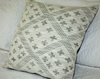 Black Geometric Print on Off White Flecked Knit - 45 x 45cm - Cushion Cover Geometric